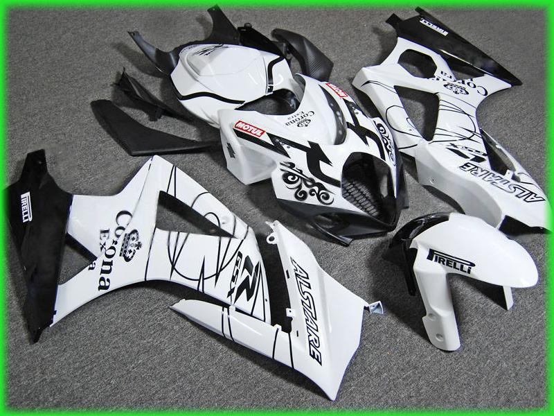 Kit de carenagens Para Suzuki GSX-R1000 2007 2008 GSXR1000 07 08 GSXR 1000 K7 Preto Branco Corona extra Carenagem ZS390