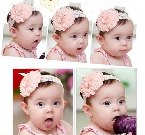 10 stks / partij baby hoofdbanden haarband hoofddeksels grote roze rozenbloemen elastische witte chiffon hoofdband, kinderen haar ornamenten