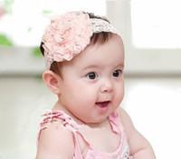ingrosso grandi fiori per fasce baby-10pcs / lot fasce del bambino hairband copricapo grande rosa rosa fiori elastico bianco chiffon archetto, bambini ornamenti per capelli