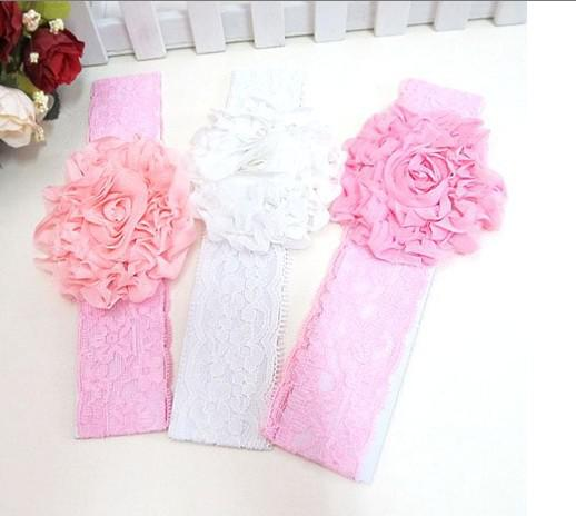 10 pçs / lote bebê Headbands hairband headwear grande rosa rosa flores elástico branco chiffon headband, enfeites de cabelo para crianças