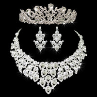 Wholesale crowns tiaras women - Hot Sale Engagement Women Jewelry Set Noble Shiny Crown Tiara Necklace Earrings Wedding Bridal Jewelry Custome Decoration Accessories