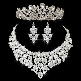 Ingrosso Vendita calda fidanzamento gioielli donna set nobile lucido corona tiara orecchini collana gioielli da sposa accessori decorazione custome