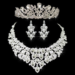 Wholesale Set Wedding Decorations - Hot Sale Engagement Women Jewelry Set Noble Shiny Crown Tiara Necklace Earrings Wedding Bridal Jewelry Custome Decoration Accessories
