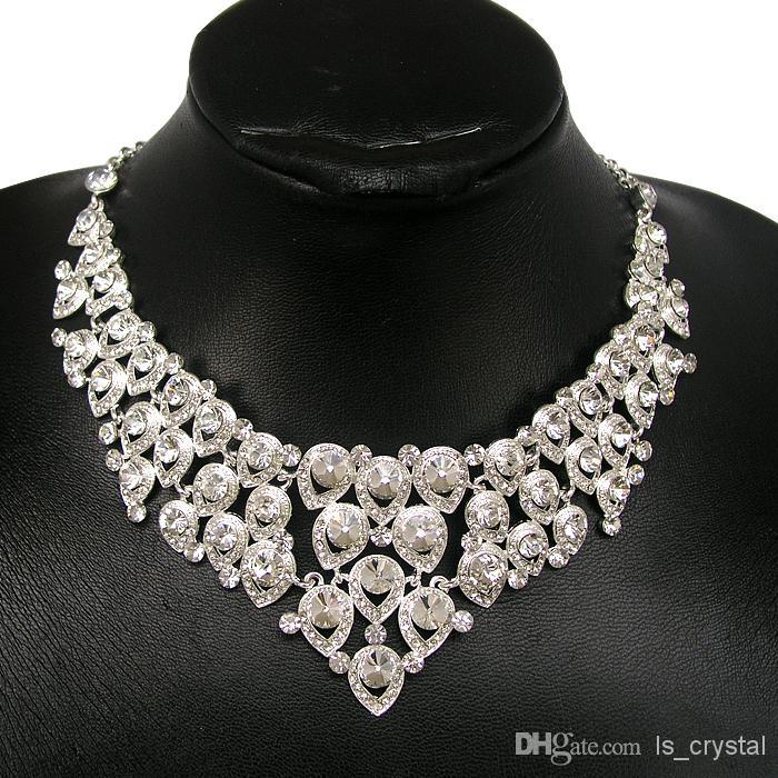 Venda quente Noivado Mulheres Conjunto de Jóias Nobre Brilhante Coroa Tiara Colar Brincos de Noiva Nupcial Jóias Custume Decoração Acessórios