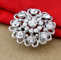 Wholesale Sp Wholesale Jewelry - Fashion crystal brooch personalized heart-shaped diamond flower brooch flash jewelry wholesale SP-XZ-60936