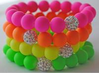 Wholesale Neon Bead Strands - Hot Neon Bracelet fluorescence Color Beads Disco Shamballa Ball stand stretch bracelets handcraft jewelry
