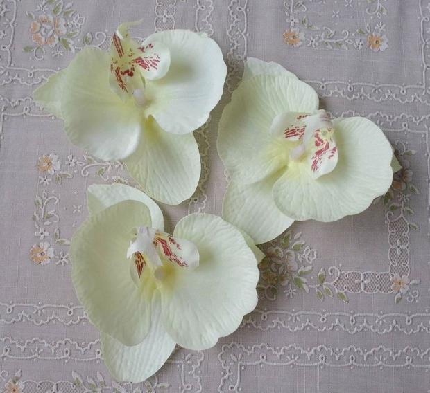 Soie Orchidée Têtes De Fleurs Mignon 9 * 10 cm Papillon Phalaenopsis Papillon Orchidées Artificielles Fleurs En Tissu pour DIY Bouquet De Mariée Bijoux