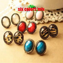 Wholesale Diamond Leopard Jewellery - Vintage cameo stud ellipse leopard red blue whit diamond earring jewellery 6 style mix 20pcs lot