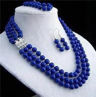 Wholesale Light Blue Jade Bracelet - SET NEW JEWELRY TIBET 8MM Beads& lapis lazul Necklace