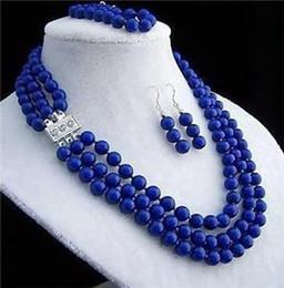 Wholesale Necklace Earring Bracelet Set Jade - SET NEW JEWELRY TIBET 8MM Beads& lapis lazul Necklace