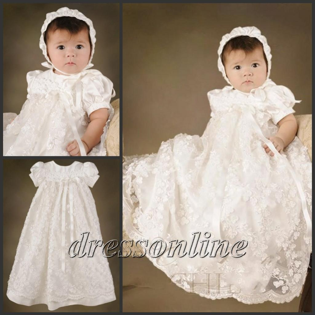 2018 Upscale Short Sleeves Long Baptism Christening Gown Lace Baby ...