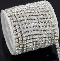Wholesale Diamante Rhinestone Yard - Hot selling 10 Yards Diamante Rhinestone Cake Banding Trim Cake Decoration 4.3mm Fit Jewelry Clothes