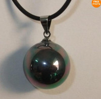 Wholesale 16mm Pearl Pendant - Beautiful bright black 16mm shell Pearl pendant necklace