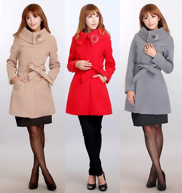 2017 New Women's Woolen Warm Winter Coat Long Outerwear Black Red ...
