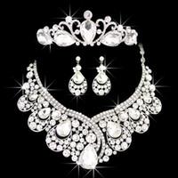 Wholesale Diamond Tiara Set - Top 1 Bright Diamond Crown Tiara Engagement Princess Necklace Wedding Earrings Jewelry Set CN026