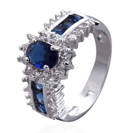 Wholesale Sapphire Gold Filled - Size 7 8 9 10 11 Royal-style Lady's 10KT White Gold Filled Blue Sapphire Ring Free Shipping