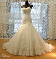 Wholesale Sexy Beaded Straight Wedding Gowns - 2016 New Wedding Dress Tulle Strapless Straight Neckline Lace Empire Bow Beaded Mermaid Bridal wedding gowns