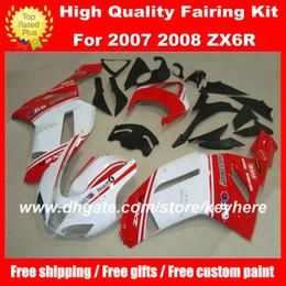 красный белый zx6r обтекатель Скидка Бесплатная настройка ABS обтекатели комплект для KAWASAKI ZX6R 07 08 Ninja ZX 6R 2007 2008 мотоцикл обтекатели g7b кузов красный белый черный послепродажного