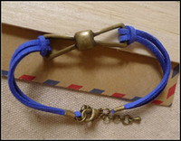 Wholesale Sideways Bracelet Bow Connectors - 50PCS LOT Antique Brass Bow Tie Connector Wax Bracelets, Korea Cords Bracelets In Mixed Color, Charm Sideways Jewelry Bracelets