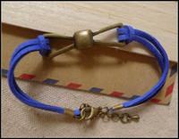 Wholesale Rhinestone Bow Sideways - 50PCS LOT Antique Brass Bow Tie Connector Wax Bracelets, Korea Cords Bracelets In Mixed Color, Charm Sideways Jewelry Bracelets