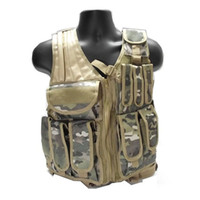 Wholesale Tactical Vest Woodland - Brand New assault Molle tactical combat vest (pistol pouch + magazine pouch+litter pouch ) woodland for airsoft Free Shipping