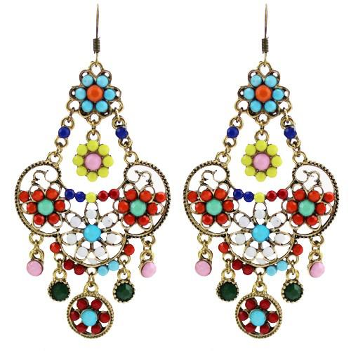 2018 Vintage Bohemian Earrings Ethnic Earrings Enamel Flower ...