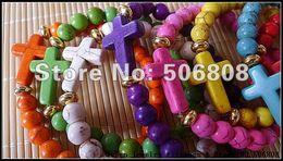 Wholesale Wholesale Honesty Bracelets - Mixed Color Sideways Cross Honesty Bracelets, Side Way Handmade Stretch Beaded Jewelry Bracelets 15PCS LOT
