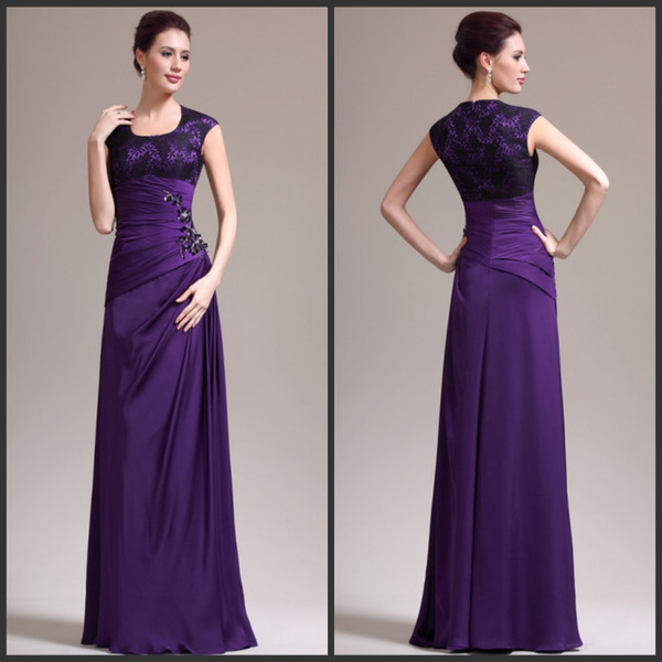 Cheap Purple Mother Of The Bride Dress Scoop Lace Bodice Satin Chiffon Fabric A line Formal Mother Wedding Gown Custom Made