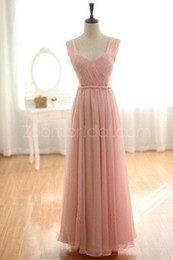 Wholesale Cutting Photos - Pageant Dresses Blush Pink Ruched Sexy Cut with Sheer Back Floor Length Chiffon Pageant Gowns