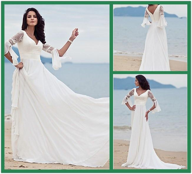 Discount Stunning Lace Chiffon Beach Wedding Dresses Vintage V Neck ...