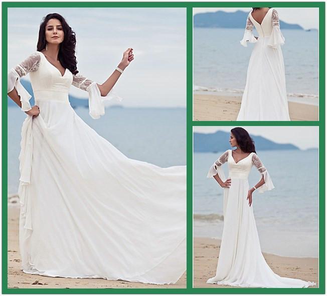 Discount Stunning Lace Chiffon Beach Wedding Dresses
