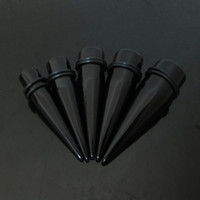 Wholesale Ear Tunnel Large - Hot wholesale fashion mixed 5 gauges big size piercing black ear expander 100pcs large gauges acrylic ear taper