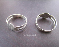 Wholesale Basis Rings - Free shipping Wholesale antique silver plated 8mm adjustable ring bases 50pieces lot