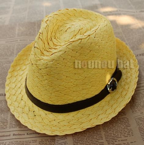 2015 NEW jazz hat women belt buckle couple hat lady Lovey candy color leisure caps Light Coffee & Beige & Rose & white straw