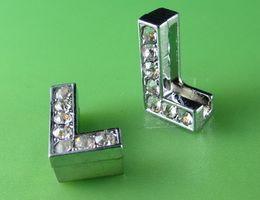 "Wholesale Diy Full Rhinestone Letters - 20PCS ""L"" Full Rhinestone 10MM Slide Letters SL038 Fit DIY Wristbnad   Bracelet LSSL02-L*20"