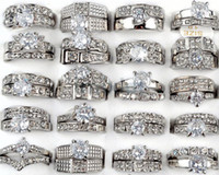Wholesale Set Gold Plated Clear Crystal - 25Pcs lot Top Quality Clear White Gold Plated Gemstone Zirconia Crystal Rings Jewelry Rhinestone Diamond Rings [CZ129*25]