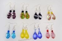 Wholesale Multi Earrings Brands - 8 Pairs lot Angel Tears Drop Multi-color Charm Glass Beads Dangle Earrings Brand New E53