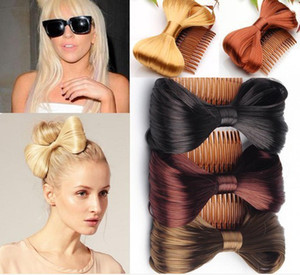 Wholesale hair combs resale online - 10pcs Assort Bow Bowknot Comb clip Hairpiece Synthetic Hair Extensions Ponytail Holder