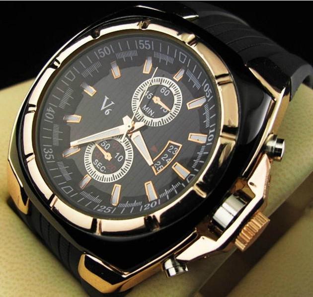 2021 Vogue V6 Strips Hour Marks Ronde Dial Golden Case Quartz Hours Analoge Silicone Fashion Horloge Mannen Relogio Masculino