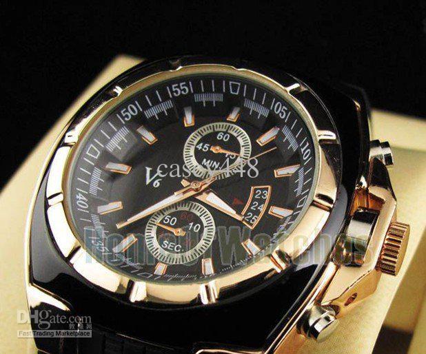 2021 Vogue V6 Strips Marcas Horas Discagem Rodada Caso Dourado Caso Quartz Horas Analógico Silicone Moda Relógio Homens Relogio Masculino