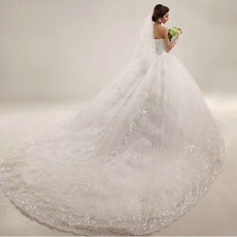 Wholesale Gorgeous Flowers - Gorgeous Sexy White Sweetheart Backless Bridal Gown Court Train Lace Wedding Dresses 2013
