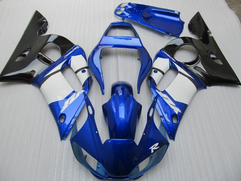 Kit carénages pour YZF R6 YZF-R6 1998 1999 2000 2001 2002 Bleu Noir 868A