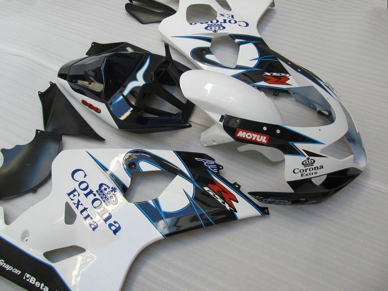 Vit Blå Corona Fairing Kit för Suzuki GSXR 600 750 2004 2005 K4 GSXR600 GSXR750 04-05 R600 R750