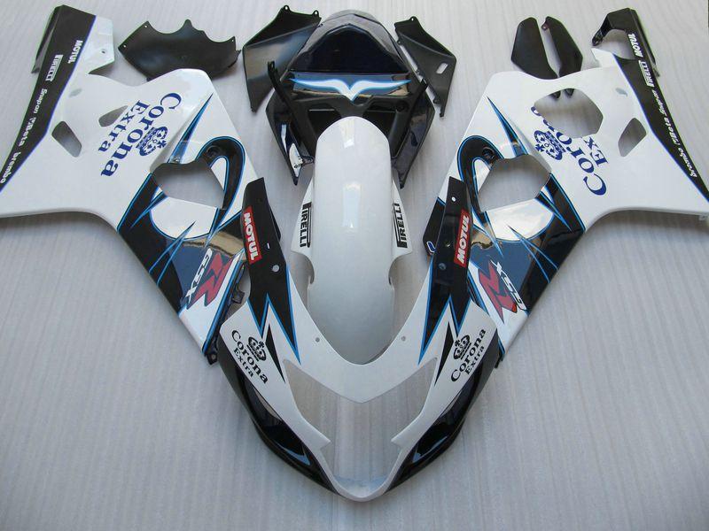 White Blue corona fairing kit for Suzuki GSXR 600 750 2004 2005 K4 GSXR600 GSXR750 04-05 R600 R750