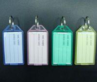 Wholesale Photo Inserts - 100Pcs Plastic Rectangle Keychains luggage tag key tags Insert Photo Keyrings key card number-Free Shipping