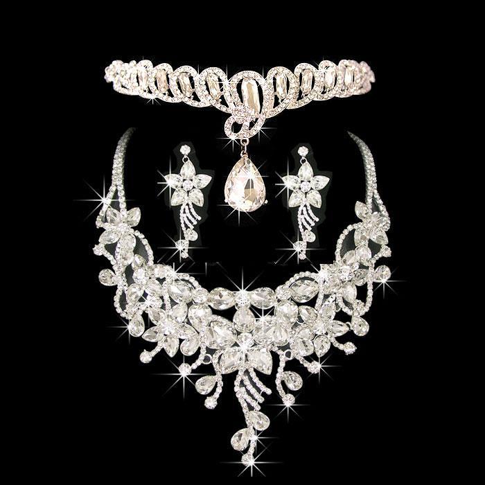 Kostuum Sieraden Frontlet Haaraccessoires Diamond Ketting Oorbellen Noble Sieraden Set voor dames in het avondfeest CN039