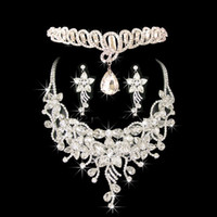 Wholesale Diamond Frontlet - Costume Jewelry Frontlet Hair Accessories Diamond Necklace Earrings Noble Jewelry Set for Ladies in Dinner Party CN039