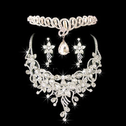 Wholesale Costume Jewelry Diamond Sets - Costume Jewelry Frontlet Hair Accessories Diamond Necklace Earrings Noble Jewelry Set for Ladies in Dinner Party CN039