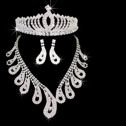 Wholesale Crystal Leaf Tiara Crown - Elegant Royal Crown Bridal Tiara Leaf Design Rhinestone Necklace Earrings Sets CN037