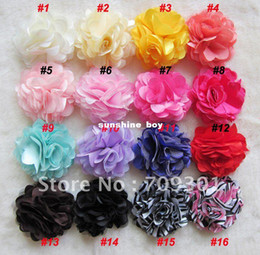 "Wholesale Satin Rose Clips - 3"" Hair Accessories Satin Mesh Flower Without Hair Clips Rose Flowers 16 Colors 55Pcs"